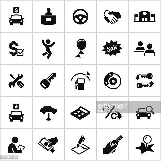 black automotive sales icons - car salesperson stock illustrations, clip art, cartoons, & icons