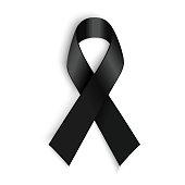 Black awareness ribbon on white background. Mourning and melanoma symbol