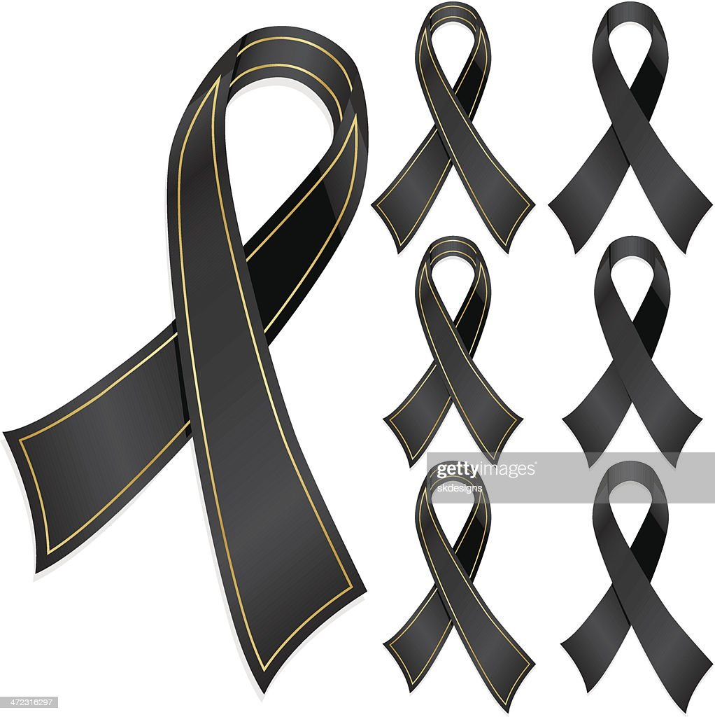 Black Awareness Ribbons, Optional Gold Trim