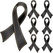 Black Awareness Ribbons, Optional Gold Trim