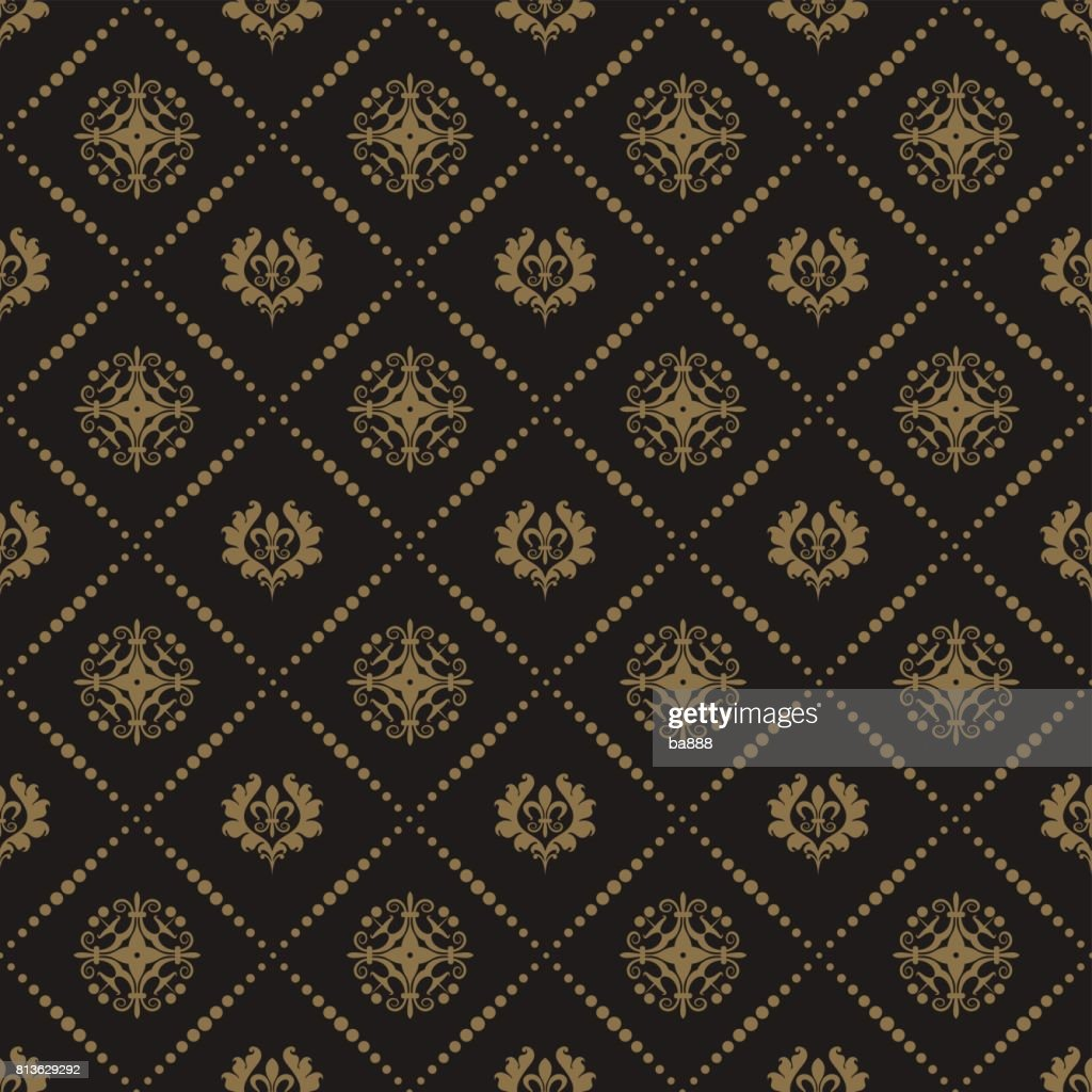 Black background baroque style seamless pattern