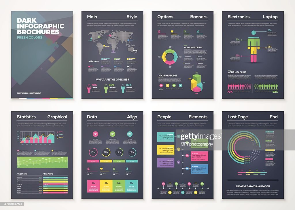 Black background infographic brochures with flat colorful style