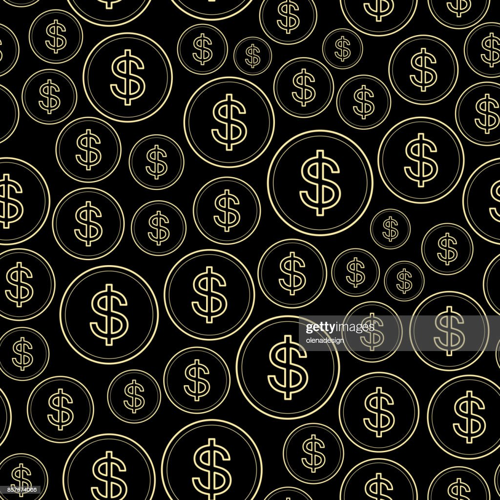 black background with dollars - vector seamless pattern