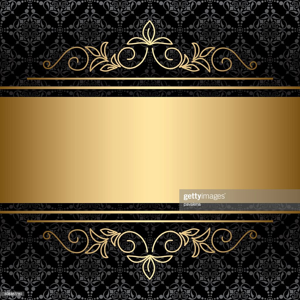 black background with golden decorations - vector