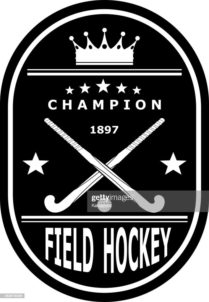 Black badge emblem for the team field hockey with crown.Vector