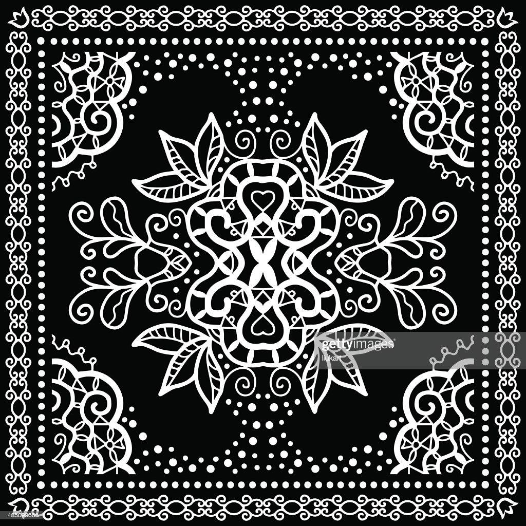 Black Bandana Print, silk neck scarf or kerchief square pattern