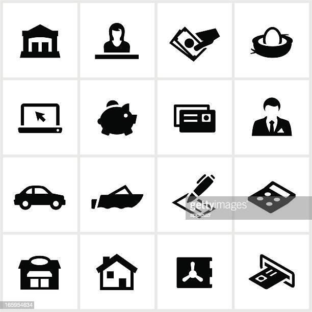 black banking symbole - sparschwein stock-grafiken, -clipart, -cartoons und -symbole