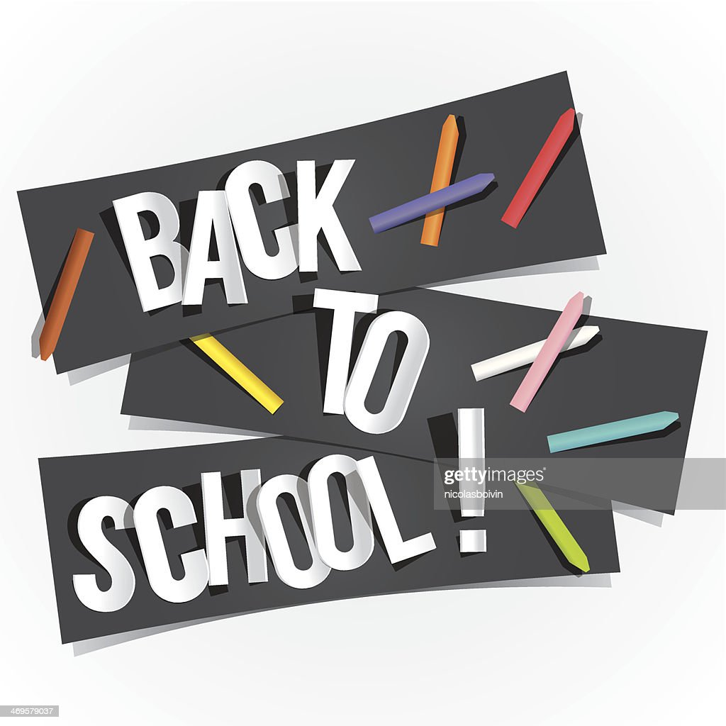 A black banner saying back to school with white background