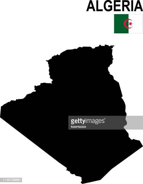 black basic map of algeria with flag against white background - algeria stock illustrations