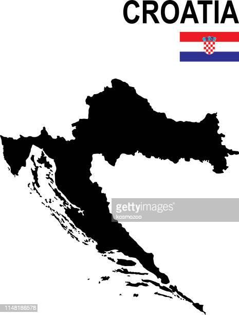 black basic map of croatia with flag against white background - croatian flag stock illustrations, clip art, cartoons, & icons