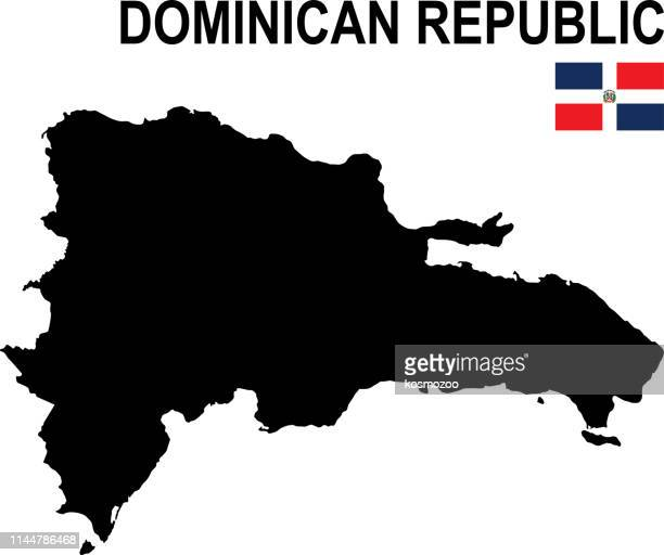 black basic map of dominican republic with flag against white background - dominican republic flag stock illustrations