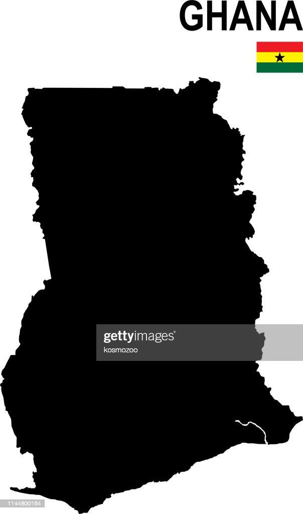 Black basic map of Ghana with flag against white background : stock illustration