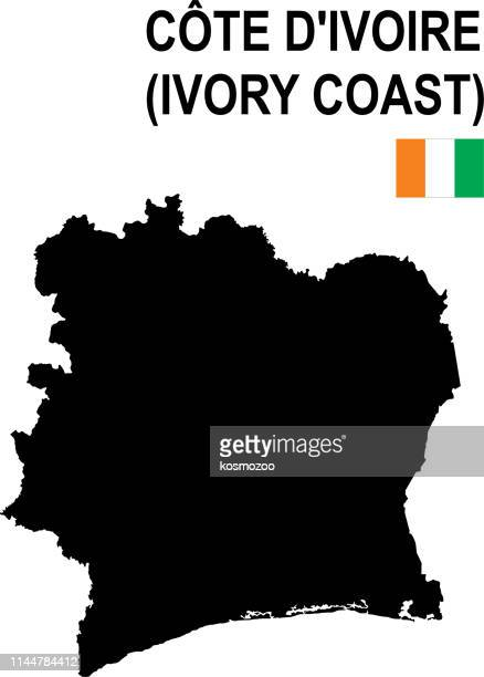 black basic map of ivory coast with flag against white background - côte d'ivoire stock illustrations