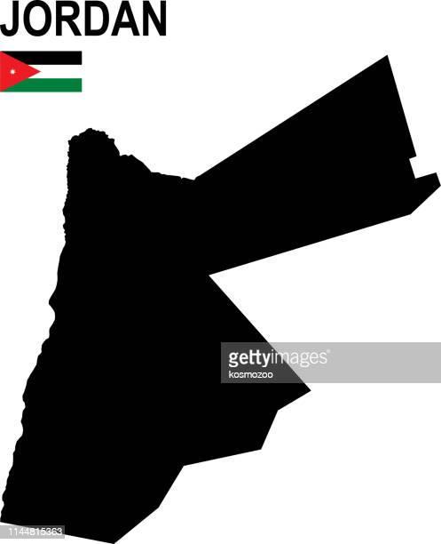 白の背景に対するフラグを持つヨルダンの黒の基本的な地図 - ヨルダン点のイラスト素材/クリップアート素材/マンガ素材/アイコン素材