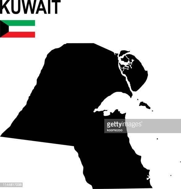 black basic map of kuwait with flag against white background - kuwait stock illustrations, clip art, cartoons, & icons