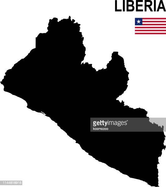 ilustrações, clipart, desenhos animados e ícones de mapa básico preto de liberia com a bandeira de encontro ao fundo branco - libéria