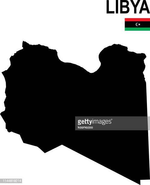 白の背景に対するフラグを持つリビアの黒の基本的な地図 - リビア点のイラスト素材/クリップアート素材/マンガ素材/アイコン素材