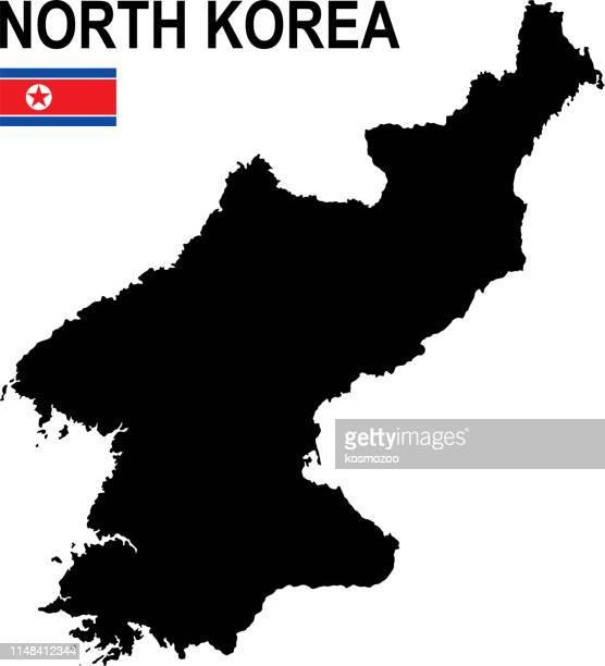 Black basic map of North Korea with flag against white background