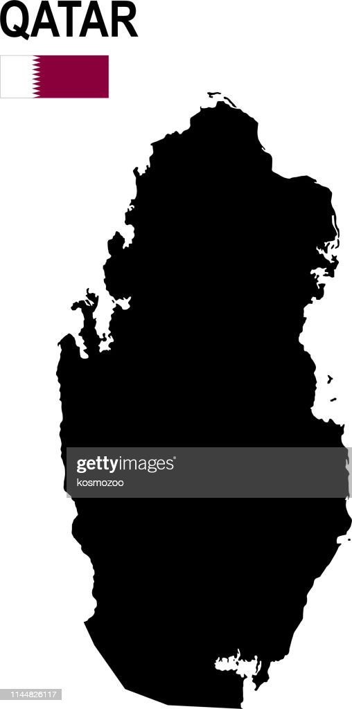 Black basic map of Qatar with flag against white background : stock illustration