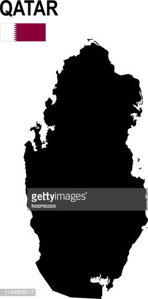 Black basic map of Qatar with flag against white background
