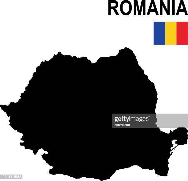 Black basic map of Romania with flag against white background