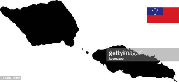black basic map of samoa with flag against white background - samoa stock illustrations, clip art, cartoons, & icons