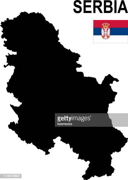 black basic map of serbia with flag against white background - serbia stock illustrations