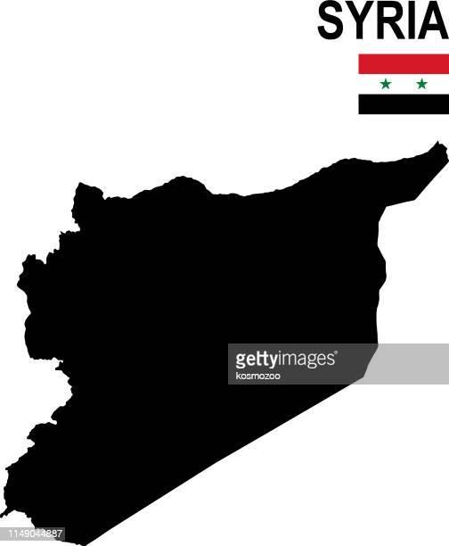 白い背景に対してフラグを持つシリアの黒の基本的な地図 - シリア点のイラスト素材/クリップアート素材/マンガ素材/アイコン素材