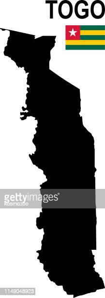 black basic map of togo with flag against white background - togo stock illustrations