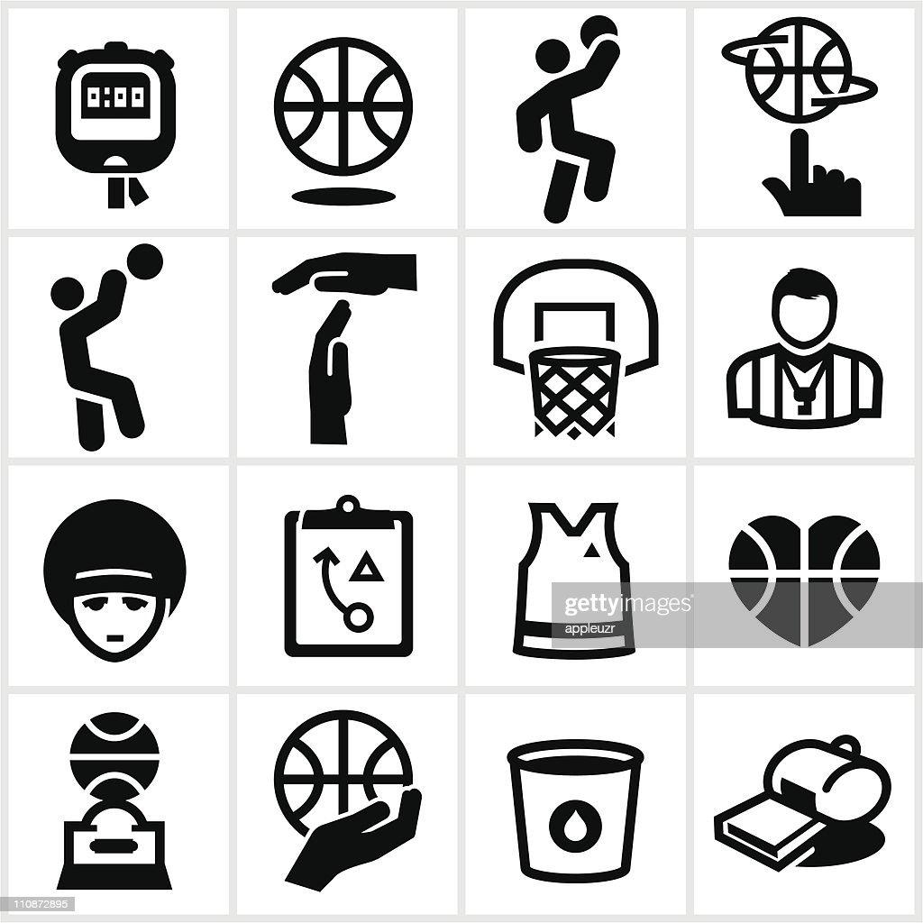 Black Basketball Icons : stock illustration