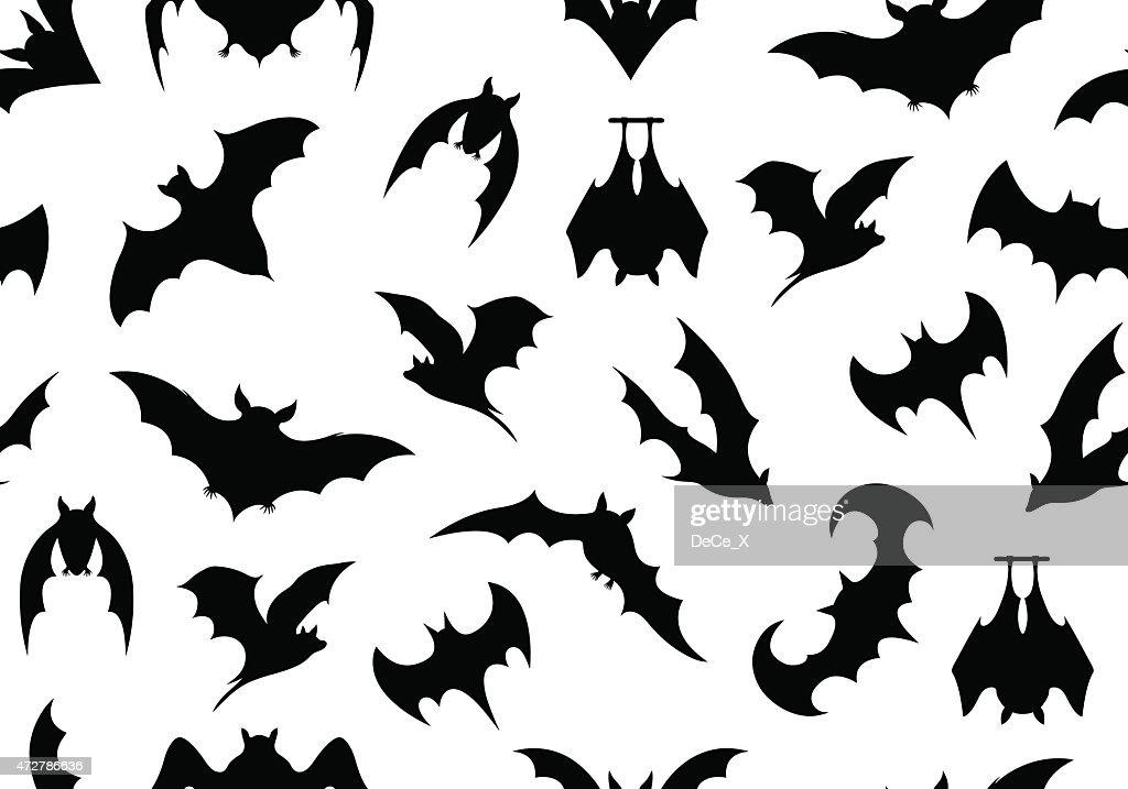 Black bat motifs on a white background
