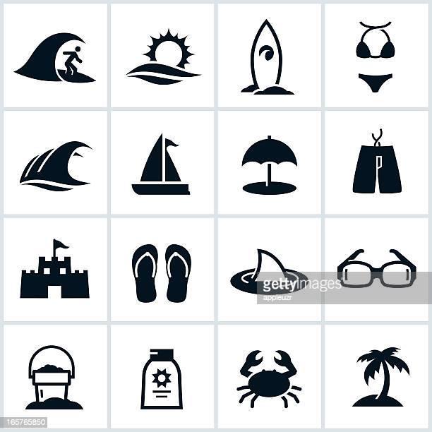 illustrations, cliparts, dessins animés et icônes de noir icônes de plage et la mer - être à l'ombre