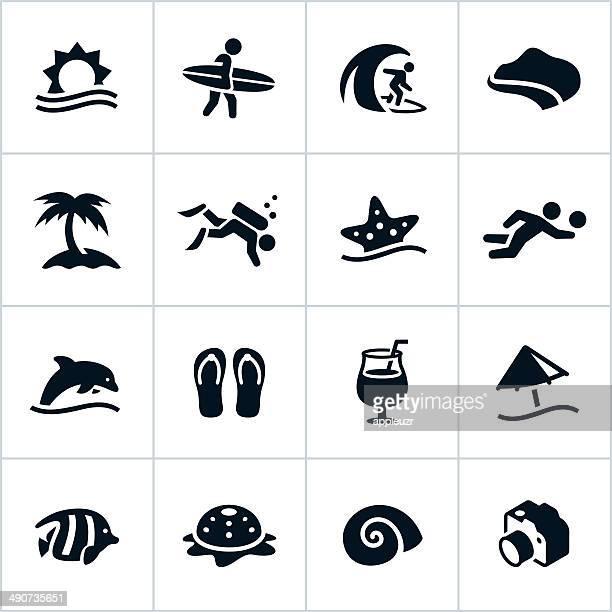 illustrations, cliparts, dessins animés et icônes de icônes de plage noir - île