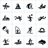 Black Beach Recreation Icons