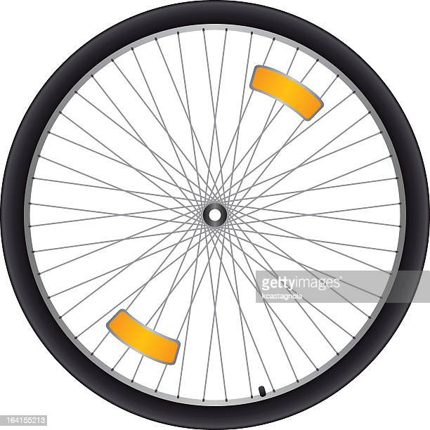 black bicycle wheel with silver spokes and orange reflectors - air valve stock illustrations, clip art, cartoons, & icons