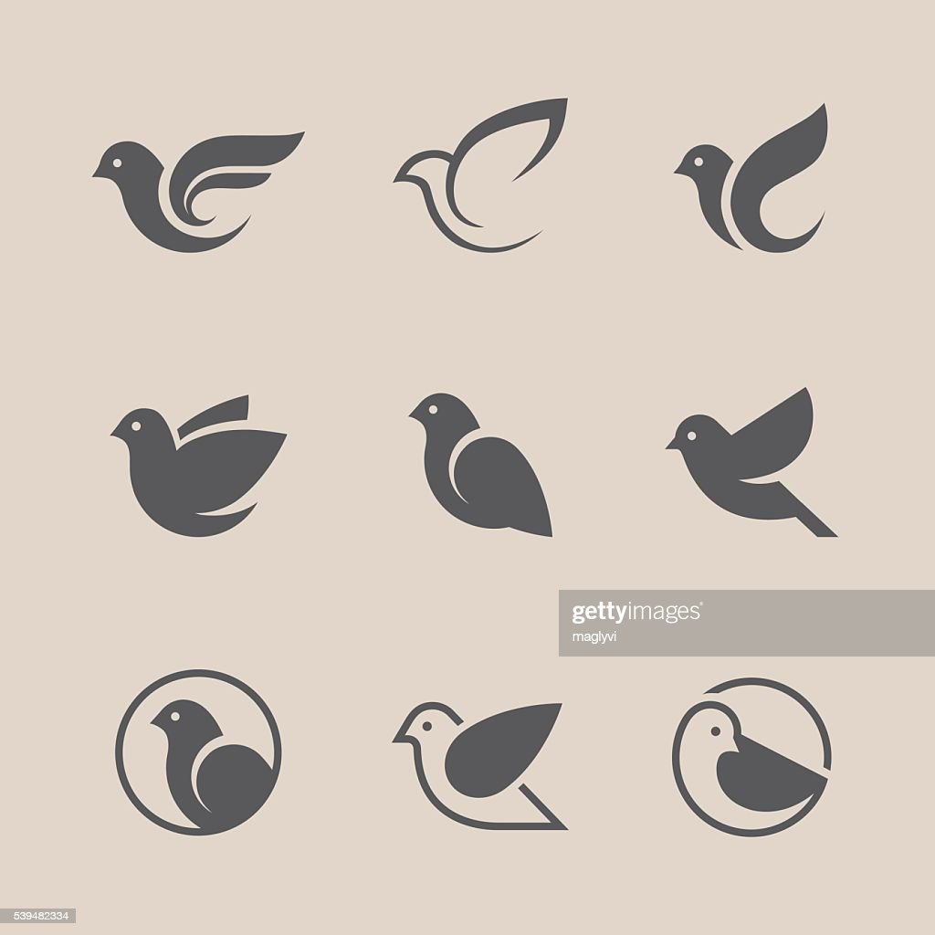 Black bird icons set