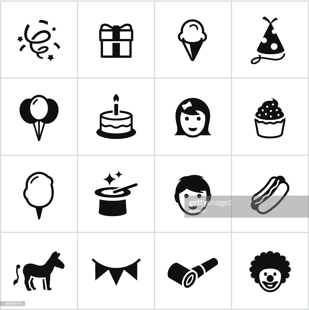 Black Birthday Party Icons