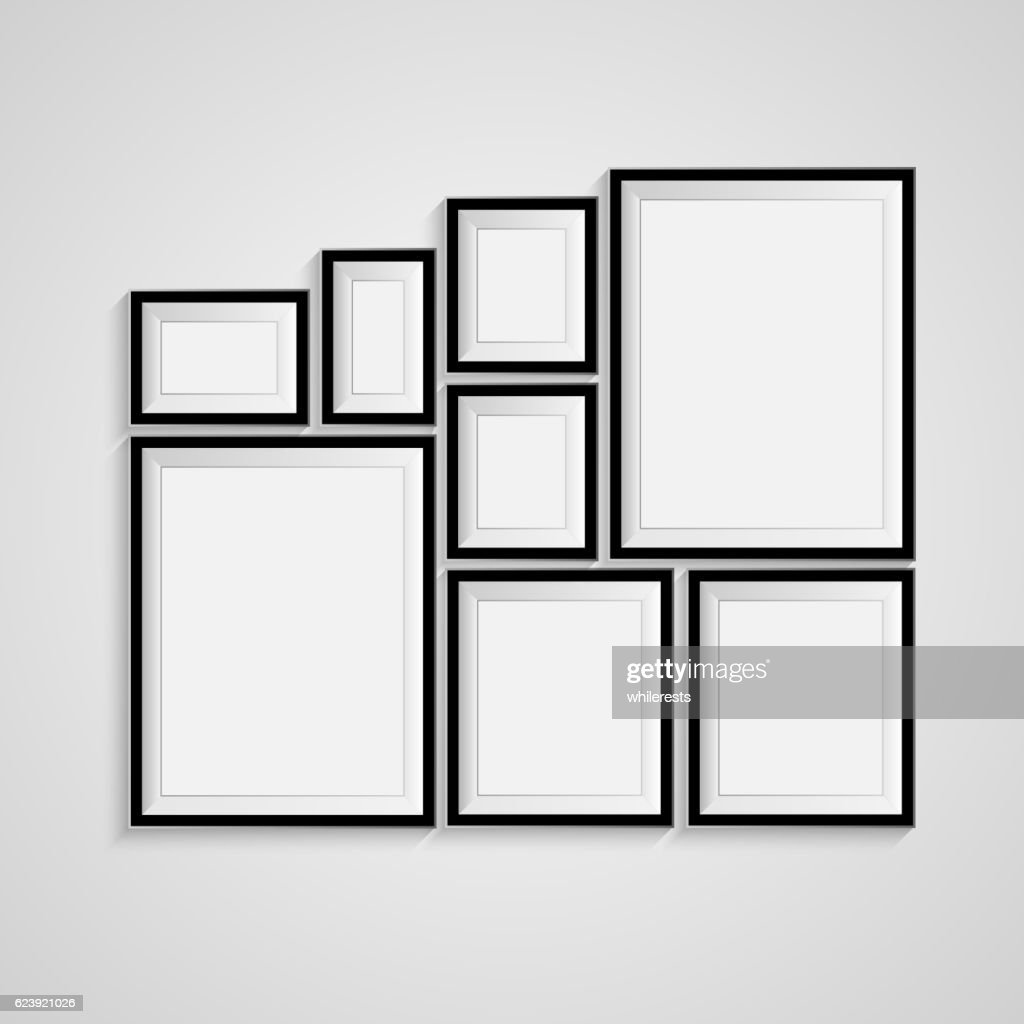 Black blank picture. Frame template poster set. Vector