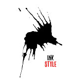 Black blot on white background in ink style