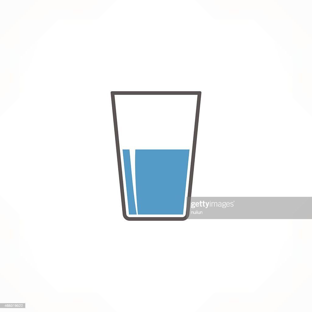 Black, blue, and white drink icon on white background