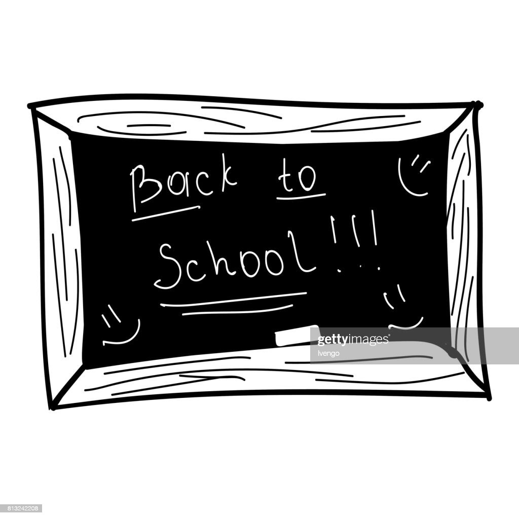 Black board, back to school, vector illustration, black and white hand draw