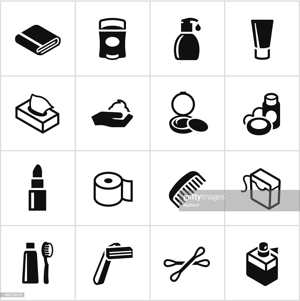 Black Körperpflege-Symbole : Stock-Illustration