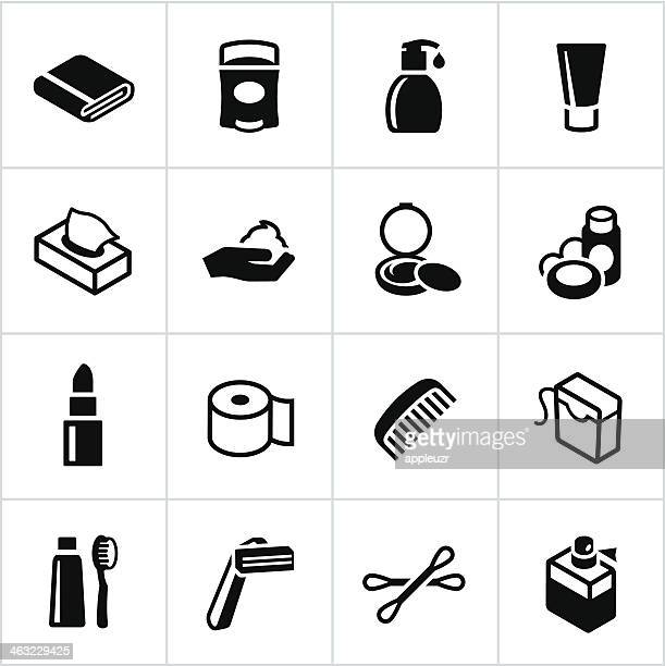 black body care icons - dental floss stock illustrations