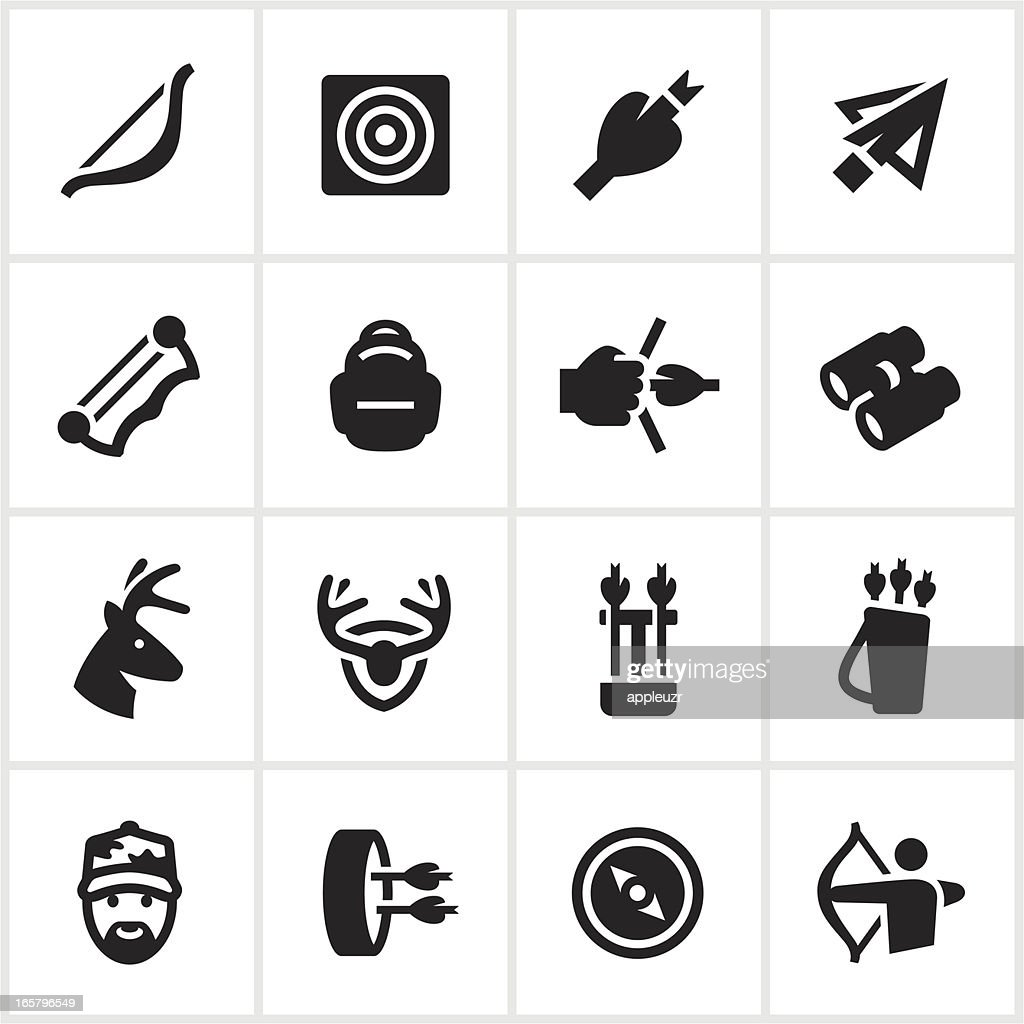 Black Bow Hunting Icons : stock vector
