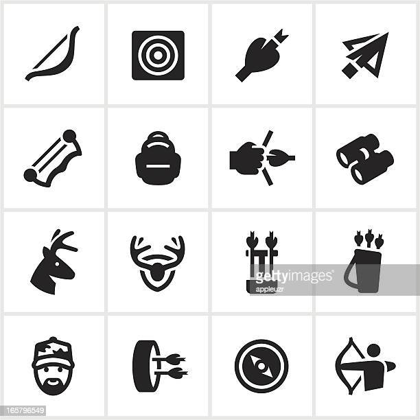 black bow hunting icons - archery stock illustrations
