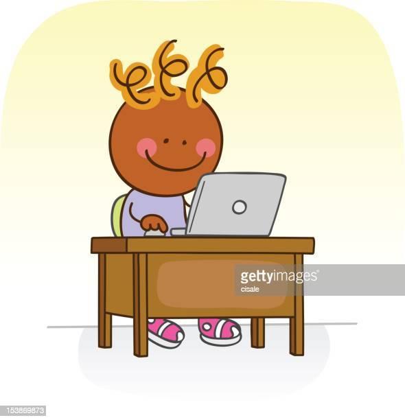 black boy online with computer cartoon illustration