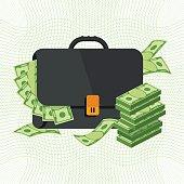 black briefcase with banknotes