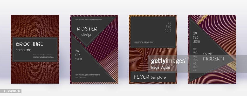 Black brochure design template set. Gold abstract