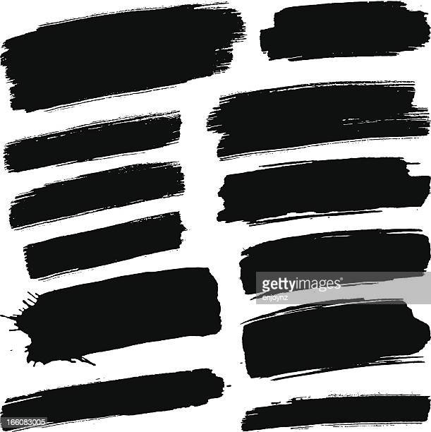 black brush strokes - paint stock illustrations