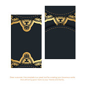 black business card with abstract gold